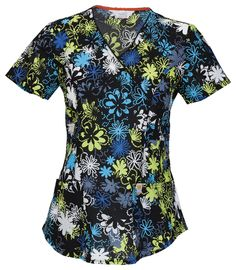 "Code Happy V-Neck Top in ""Dots Of Daisies"" from Cherokee Scrubs at Cherokee 4 Less"