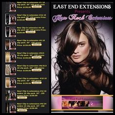 """Sale on website now!  ONLY 1 pack needed for most full heads! Check out my new colors in clip-ins from my line Glam Rock Extensions! Available now! Double wefted! Very thick! Www.eastendextensions.com  Wash,air dry then curl or flat iron with ease!  Full packs are 150 grams of hair!  100% Human Hair 10 piece pack. 20"""" & 24""""!"""