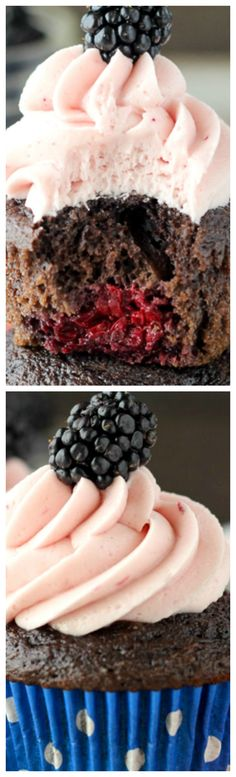 Blackberry Cabernet Cupcakes ~ These are a delicate chocolate cupcake ...