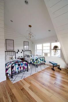 Modern Shared Kids Bedroom, Boy and Girl Shared Bedroom, Shared Kids Room, Twin Bedroom, Modern Kids Room, Modern Kids Bedroom, Shiplap Bedroom, Kids Room