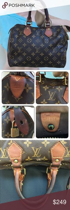 🆑🔴Authentic Louis Vuitton Bag 🔴 Authentic LV speedy 25 bag with lock . There is a little bit of peeling ( tear ) on both sides. ( Look in the picture ). Clean outside , inside a little bit dirty Louis Vuitton Bags