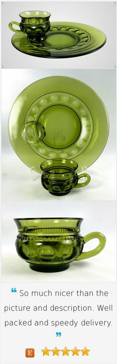 Set of 6 Indiana Glass Avocado Green Kings Crown Luncheon Plates and Cups Crown Pattern, Antique Dishes, Kings Crown, Indiana Glass, Vintage Items, Avocado, Community, Plates, Patterns