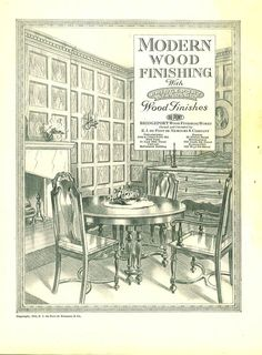 Modern Wood Finishing, 1918.    This catalog features details of wood finishes on various wood species. From the Association for Preservation Technology (APT) - Building Technology Heritage Library, an online archive of period architectural trade catalogs. It contains thousands of catalogs. Select your material  and become an architectural time traveler as you flip through the pages.