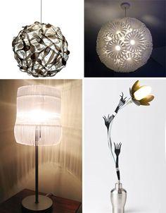 Lámparas hechas con material reciclado y desechables