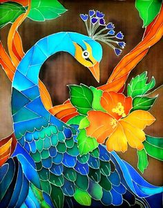 I always find peacocks fascinating Feather Painting, Fabric Painting, Fabric Art, Peacock Images, Hand Painted Dress, Stained Glass Quilt, Silk Art, Tropical Art, Art Images