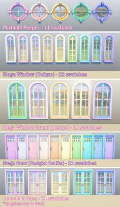 """Windows and Doors BPR Recolors mdebunny: """" I don't know if anyone else is interested in these, but I made them for my Gumdrop Rainbowcy and thought I'd share. I used Sorbet Pastels for. Maxis, Sims Four, Sims 4 Mm Cc, Sims 4 Body Mods, Sims 4 Mods, Sims 4 Cc Folder, Sims 4 Anime, Muebles Sims 4 Cc, Sims 4 House Design"""