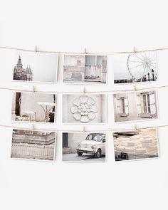 Paris pictures display idea...   Paris Postcard Set, White Paris Photography 4x6 Art Print, Apartment Decor, Paris Decor, Black and White Prints Dorm Decor by TheParisPrintShop on Etsy https://www.etsy.com/uk/listing/66485428/sale-paris-postcard-set-white-paris