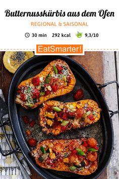 Kürbis-Rezept: Butternusskürbis aus dem Ofen - smarter - Kalorien: 292 kcal - Zeit: 30 Min. | eatsmarter.de #ofenrezept #kürbis #butternuss #butternut #butternusskürbis #eatsmarter