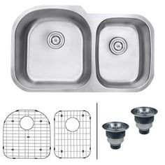 Ruvati Stainless Steel Varna Undermount Double Basin 16 Gauge Stainless Steel Kitchen Sink with 2 Basin Racks and 2 Basket Strainers Stainless Steel Kitchen, Brushed Stainless Steel, Kitchen Fixtures, Kitchen Sinks, Kitchen Remodel, Bar Sinks, Kitchen Appliances, Double Bowl Kitchen Sink, Base Cabinets