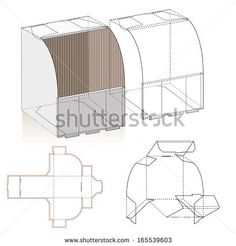 Square Box Blueprint - stock vector