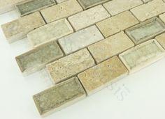 Travertine Blend 1 x 2 Cream/Beige Backsplash Glossy & Unpolished Glass and St  kitchen tile