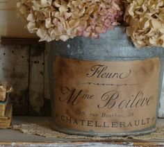 ❥ vintage labels on bottles, buckets, baskets...