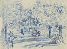 Avenue in a Park  -   Vincent van Gogh, 1888  Dutch,1853-1890  chalk, pen and ink, on paper, 25.7 cm x 34.8 cm