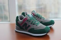 Joes New Balance 574 US574 Grey Green Pink Womens Shoes