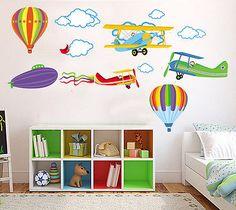 Pegatinas infantiles de Aviones Mural infantil Vinilos decorativos para Niños