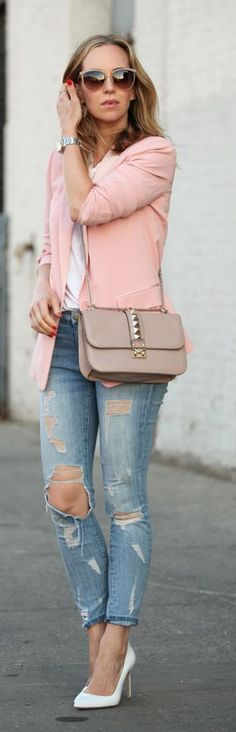 Pink Blazer Casual Chic Streetstyle