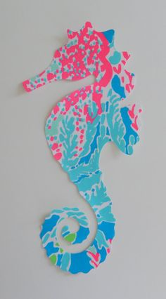 New Made To Order SEAHORSE silhouette pillow made with Lilly Pulitzer Lets Cha Cha fabric