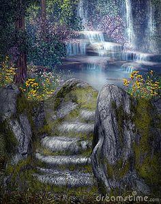 fantasy waterfall landscape - Google Search