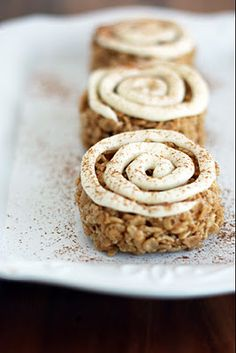 Cinnamon Roll Rice Crispy Treats -- a huge hit! these were easy and fun to make.  Cream cheese frosting turned out so well and compliments the flavor of the Rice Krispy treat.  Very rich..I definitely couldn't eat more than one!
