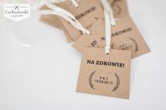 Wedding, alcohol labels on the bottle, made of eco paper with pink ribbon. / Zawieszka na alkohol na wstążce satynowej wykonana z papieru ekologicznego.