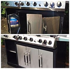 Bar Keepers Friend will remove rust from stainless steel grills.