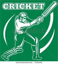 vector illustration of a cricket sports player batsman silhouette batting - stock vector