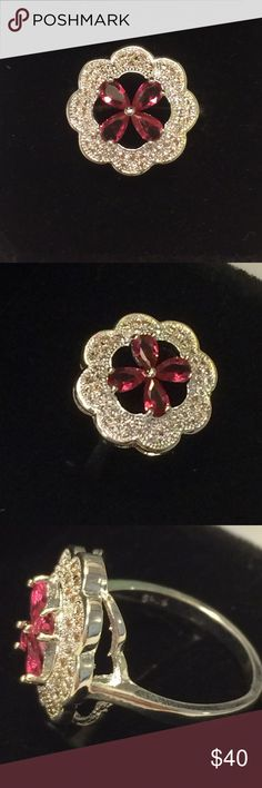 NATURAL RUBY & TINY DIAMOND 💎 S925 SILVER RING 💍 Beautiful Flower 🌺 Natural Ruby Gemstone 💎 . Tiny delicate white diamond encrusted Ring  surrounded the ruby . S925 Sterling silver stamped band. Brand new never worn. All jewelry is brand new. Wrapped and shipped with care . 💍💕 Ice Jewelry Rings