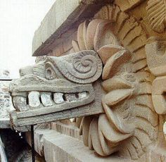 """""""The Temple of the Feathered Serpent in Teotihuacan, Mexico. Location: Southern end of the Avenue of the Dead. In the archaeologists discovered more than a hundred possibly sacrificial victims buried beneath the structure. Mayan Tattoos, Feathered Serpent, Aztec Culture, Aztec Art, Mesoamerican, Mexican Art, Archaeological Site, Sculpture, Ancient Art"""