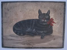 Antique 1800s American Folk Art Black Cat w Tiger Stripes Oil on Board SOLD by North Bayshore Antiques