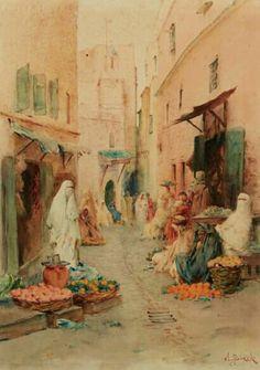 Algérie - Peintre français Alphonse BIRCK (1859-1942) , Aquarelle sur papier , Titre : MARCHÉ AUX FRUITS À ALGER