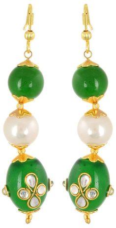 Waama Jewelspearl Dangle & Drop Earring, Green Office Wear Earring For Girl, Fusion Jewellery Wje4007