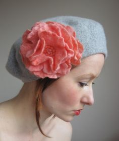 Corinne - Light Grey French Style Beret From Pure Wool With Felted Rose-Hand Felted-In Coral. $51.00, via Etsy.