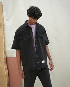 Super cool black denim shirt with rolled-up short-sleeves influenced by wild western style. With soft details in the pockets, button and collar, wear this with a pair of jeans for a true Canadian tuxedo look. Black Denim Shirt, Oversized Denim Shirt, Smoking, Canadian Tuxedo, Chef Jackets, Women Wear, Men Casual, Short Sleeves, Mens Tops