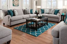 Paradise Big Picture Package with 55 Toshiba LED-TV from Gardner-White Furniture Teal Living Rooms, Living Room Turquoise, Living Room Sofa Design, Living Room Decor Cozy, Living Room Color Schemes, Living Room Colors, Living Room Sets, Living Room Interior, Home Living Room
