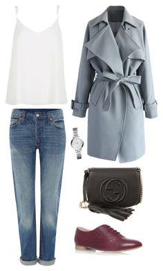 """""""#15 Trench day"""" by diamondkitten ❤ liked on Polyvore featuring Chicwish, Carvela Kurt Geiger, Levi's, Gucci, River Island, FOSSIL and FrenchStyle"""