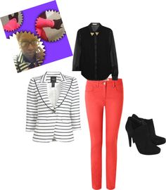 """black, white, coral"" by b-ayesha on Polyvore"