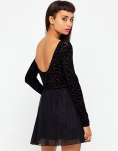Buy Motel Cillia Skater Dress in Black Flocked Baroque at Motel Rocks  Fashion Company 34b36216be40