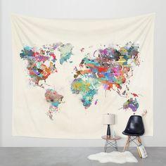 world map watercolor Wall Tapestry by Bri.buckley | Society6