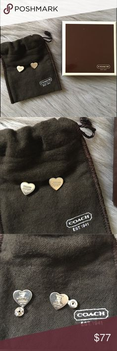 COACH Heart Shaped Earrings AUTHENTIC COACH Heart Shaped Earrings  Sterling Silver 925  Jewelry Bag  Coach Box  Authentic   -used them twice, I will disinfect and give them a polish Coach Jewelry Earrings