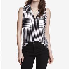 Express Portofino Tank Express black and white striped portofino shirt. Excellent condition. Express Tops Blouses