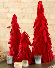 I love these Felted Wool Nesting Trees - saw them in white this year too! LOVE  THEM