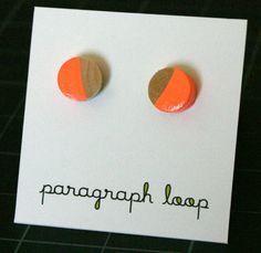 Half moon wood post earrings - hot neon orange. $6.00, via Etsy.
