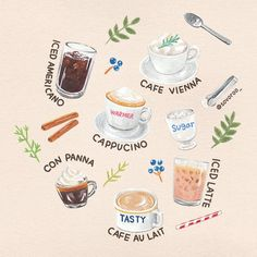Food and Gardening Tips Kawaii Drawings, Cute Drawings, Tasty Cafe, Desserts Drawing, Food Art Painting, Watercolor Food, Illustration Art Drawing, Food Wallpaper, Food Platters