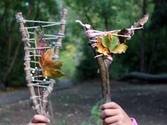 Cool project from www.kiwicrate.com...: Nature Hunt Treasure Stick... Create the wrapped branch holder and then go on a nature scavenger hunt