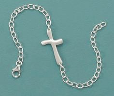 Brushed Sterling Silver Cross Bracelet, 8 inch long, 5/8 inch wide, Lobster Clasp Silver Messages. $36.99