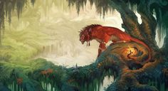 """""""Ancient Forest"""" by Kristen Plescow. I never even experiment––Red XIII is ALWAYS in my party after he shows up."""