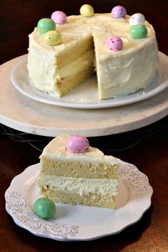Meyer Lemon Cheesecake Cake recipe:  two layers of meyer lemon cake with a layer of cheesecake in betweeen