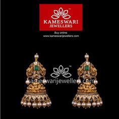 Mesmerizing collection of gold earrings from Kameswari Jewellers. Shop for designer gold earrings, traditional diamond earrings and bridal earrings collections online. Gold Jhumka Earrings, Gold Bridal Earrings, Buy Earrings, Jewelry Design Earrings, Gold Earrings Designs, Earrings Online, Jhumka Designs, Jewellery Designs, Gold Ring Designs