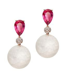 Ice mingles with fire in these statement Boule earrings graced with frozen quartz, icy diamonds and a flaming rubellite. #Boule #deGRISOGONO #Diamonds