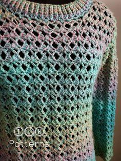 Crochet Mask, Free Crochet, Knit Crochet, Crochet Sweaters, Crochet Tops, Crochet Pullover Pattern, Crochet Patterns, Dk Weight Yarn, Free Pattern